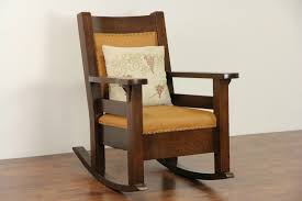 Arts & Crafts Mission Oak 1905 Antique Rocker, Craftsman Rocking Chair