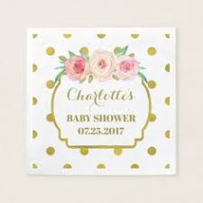 White Gold Dots Blush Floral Baby Shower Paper Napkin