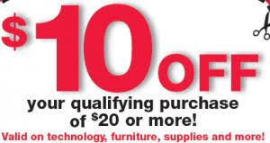 fice Depot $10 off $20 Purchase Coupon mon Sense With Money