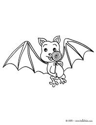 Bat Under The Moonlight Eating Lollipop Coloring Page