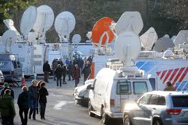 Media Descends On Newtown - NewsTimes Pmtv Sallite Uplink Trucks For Broadcast Live Streaming Trucks At The Coverage Of Timothy Mcveighs Exec Flickr Side Loader New Way The Best To Transmit Data In Really Wired 3d Rendering On Road With Path Traced By Stock Espn Gameday Truck Was Parked Nearby 2012 Us Presidential Primary Covering Coverage Tv News Broadcast Live With Antenna And Sallite Tv Truck Parabolic Frm N24 Channel Media Descend On Jpl Nasas Mars Exploration Program Rear View Of White Television Multiple