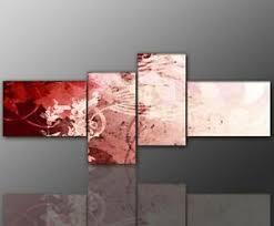details zu designbilder wandbild abstrakt modern rot wohnzimmer kunst 160x70cm