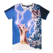fashion men thunder cat lightning funny 3d printed casual t shirt