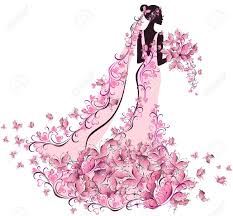 Bride In Floral Dress With Butterfly Royalty Free Cliparts Pink Wedding
