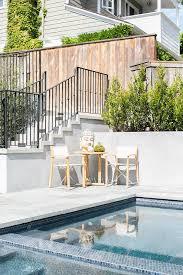 blue mosaic pool tiles transitional deck patio