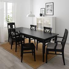 ingatorp ingolf tisch und 6 stühle schwarz nolhaga grau beige 155 215 cm