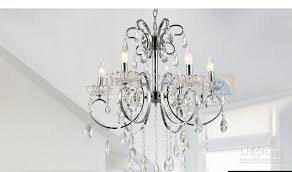 Free Shipping European Simple Crystal Lamp Chandelier Bedroom Lighting Polished Chrome Finishing 6L Wholesale And Retail