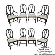 French Country Style Set Of 8 Distressed Black Painted ... Refinished Painted Vintage 1960s Thomasville Ding Table Antique Set Of 6 Chairs French Country Kitchen Oak Of Six C Home Styles Countryside Rubbed White Chair The Awesome And Also Interesting Antique French Provincial Fniture Attractive For Eight Cane Back Ding Set Joeabrahamco Breathtaking