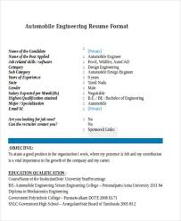 Automobile Engineering Format Resume