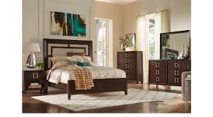 Sofia Vergara Sofa Collection by Santa Clarita Dark Cherry 5 Pc Queen Bedroom With Upholstered