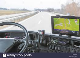 100 Truck Navigation View Of Highway Traffic Through The Windshield Of The Truck Cab