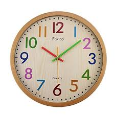Foxtop Silent Colorful Kids Wall Clock 125 Inch Large Decorative Non Ticking Battery Operated