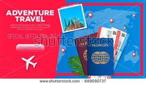 Adventure Travel Banner Business Trip Passport With Tickets Illustration 30