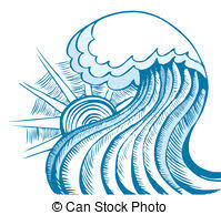 Abstract sea wave Vector illustration of blue sea