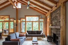Small Timber Frame Home Rustic Living Room