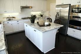 White Kitchen Dark Floors Cabinets Traditional Island Wood Floor Hardwood
