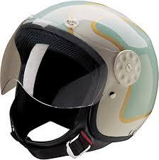 HCI Open Face Fiberglass Motorcycle Helmet Green Gold W Shield 15 660