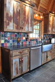 These Cabinets Were Made From Barn Wood And Rusted Metal Roofing Resourceful Rustic Primitive Slate Floor Black Counters You Pick The Material