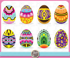 Easter Clip Art Colorful Eggs Design Ideal For Scrapbook Cards InvitationsPartyPaper Craft Ed005