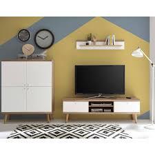 wohn esszimmer und garderoben möbel serie mainz 61 in weiß matt mit eiche riviera nb selbst zusammenstellen