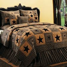 Vintage Star 6 Piece Black Wine Country Quilt Set