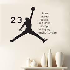 Michael Jordan Basketball Inspirational Vinyl Wall Stickers Quote For Kids Room Decor Boys Diy Art Mural Removable Decals In From Home