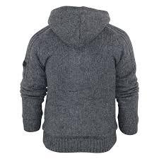 mens hooded cardigan jumper dissident stella sherpa fur lined knit