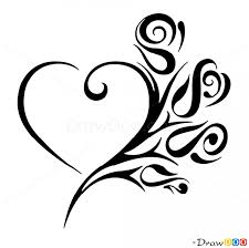 How To Draw Roses And Heart Tattoo Designs