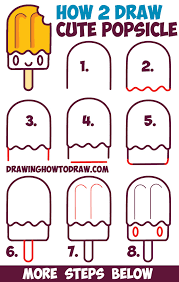 How To Draw Cute Kawaii Popsicle Creamsicle With Face On It