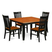 100 Cherry Table And 4 Chairs East West Furniture PFWE5BCHW Dinette Set With A Dining