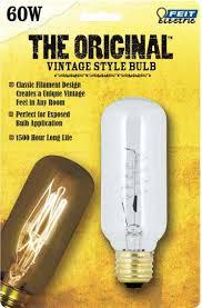 feit vintage style antique edison bulb 60w 120v t14 clear e26