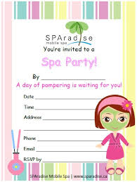 Free Printable Spa Party Invitations By SPAradise Mobile