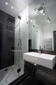Rustic Industrial Bathroom Mirror by Apartment Minimalist Bathroom Design With Glass Door Plus Big