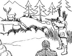 Hunting Aiming At Deer Coloring Pages