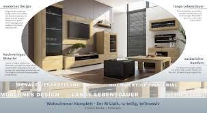 wohnzimmer komplett set m lipik 12 teilig teilmassiv farbe eiche schwarz