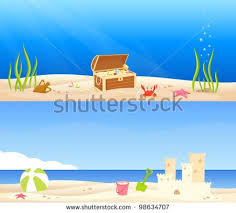 Sand Castle Clipart Treasure Chest At The Bottom Of Sea And A Beach Scene With