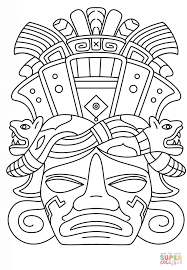 Mayan Mask Coloring Page Free Printable Pages
