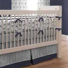 Gray and Navy Deer Crib Bedding