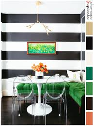Black And White Dining Room With Emerald Green Accents Striped Walls