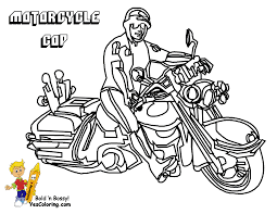 Police Motorcycle Coloring Pages Inside