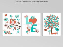 Owl nursery decor art set Coral & teal