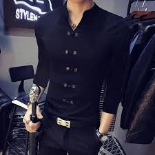 2018 New Mens Fashion Korean Button T Shirt Slim Cotton POLO