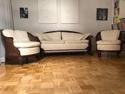 antikes wohnzimmerset aus mahagoni gepolstertem sitz 3er set