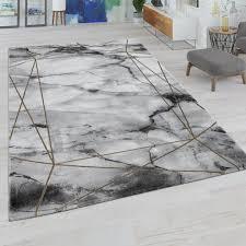 wohnzimmer teppich mit marmor design grau gold