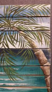 Beach Painting Pallet Art Hand Painted Palmtree Nautical Decor Wall Barnwood Seascape Horizon Oceanscape Palm Tree
