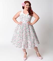 cute plus size retro dresses for sale pastel floral 1950s and