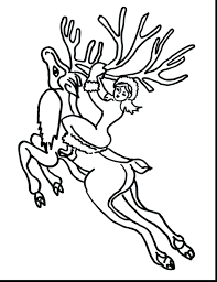 Beautiful Flying Reindeer Coloring Pages Antlers Free Printable Of And Sleigh Rudolph