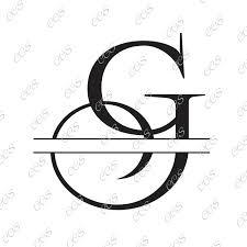 Digital Cut File Split Letters Letter G G Split G Monogram