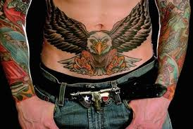 Flying Eagle Tattoo On Stomach