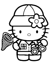 Hello Kitty Holding Binoculars Coloring Pages For Kids Printable
